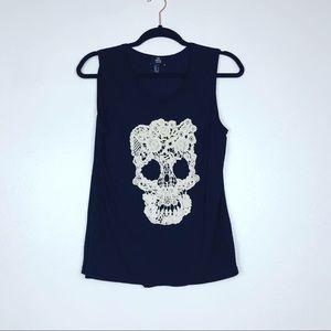 MNG Black White Sleeveless crochet Skull Top Sz M
